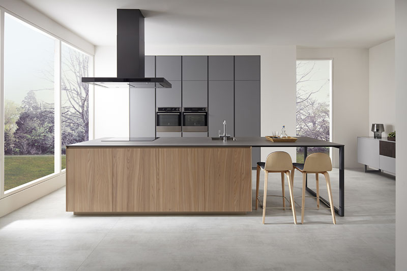 Es muebles de cocina gris tormenta olmo natural for Muebles minimalistas para cocina